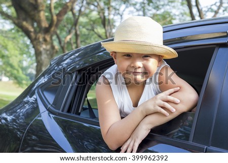 Happy asian kid enjoy summer vacation,  family holiday travel trip with boy together leisure fun - stock photo