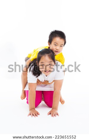 Happy Asian kids isolated on white.