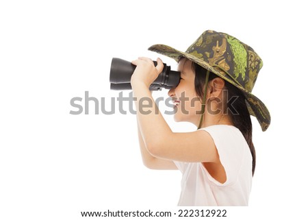 happy asian Little girl looking through binoculars. isolated on white background - stock photo