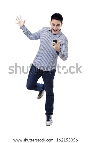 Happy asian man with mobile phone, isolated on white background