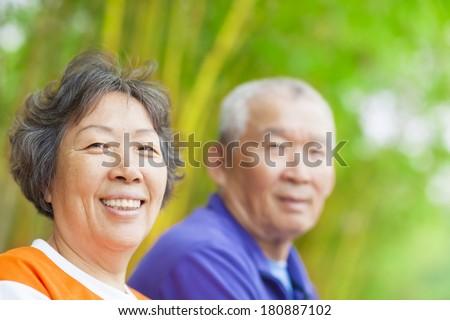 happy asian Senior couple - stock photo