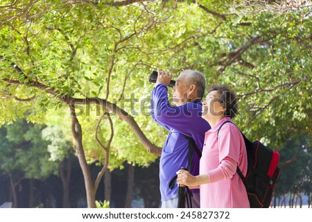 Happy asian senior Couple On Vacation - stock photo