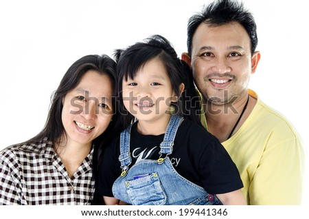 Happy asian smiling together, Father mother and daughter- isolated over white