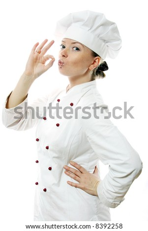 Happy attractive cook woman over white background