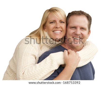 Happy Attractive Couple Hugging Isolated On A White Background.