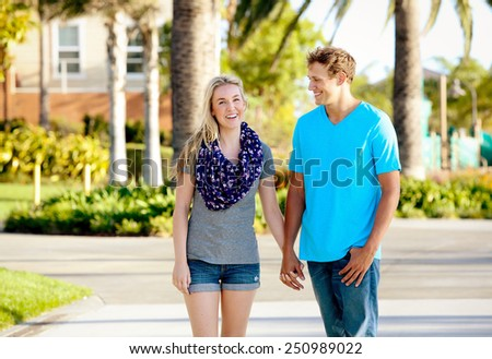 Happy attractive couple spending time together - stock photo