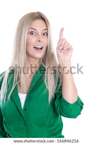 Happy attractive young woman has an idea isolated on White. - stock photo