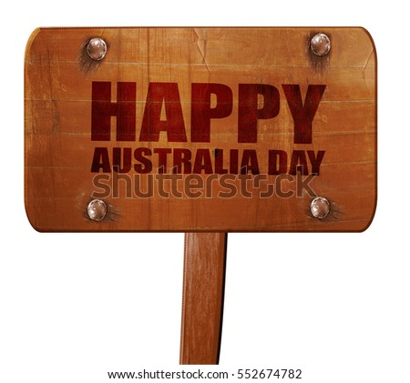 happy australia day, 3D rendering, text on wooden sign