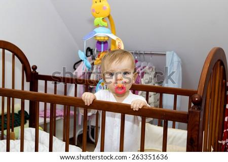 happy baby at home - stock photo