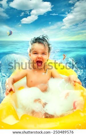 Happy Baby Bath - stock photo