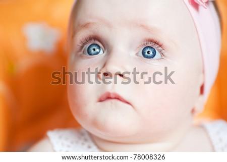happy baby blue eyes - stock photo