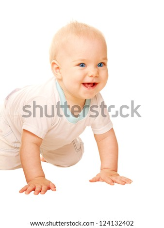 Happy baby crawling away. Isolated on white background.