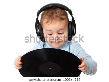 Happy baby dj with music disk - stock photo