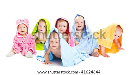 Happy baby friends in bath towels - stock photo