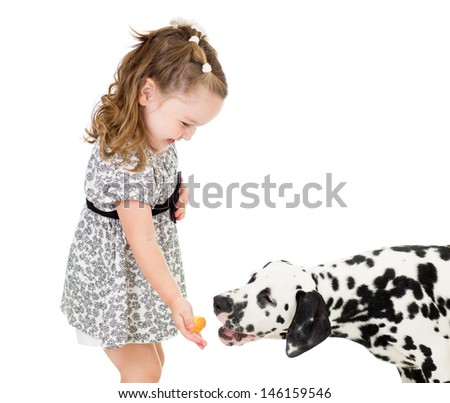happy baby girl feeding dog isolated on white - stock photo