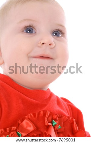 happy baby headshot - stock photo