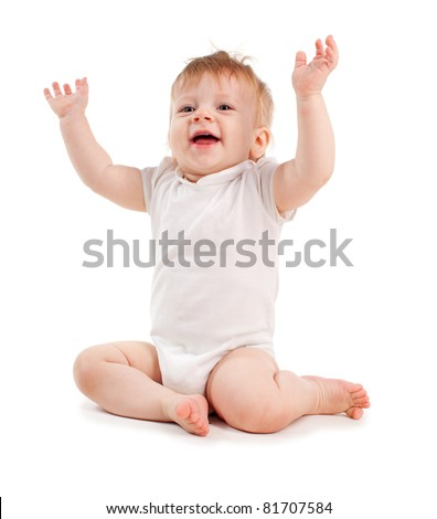 Happy baby isolated on white