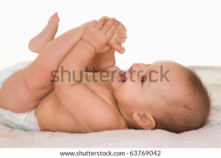 happy baby on a white background - stock photo