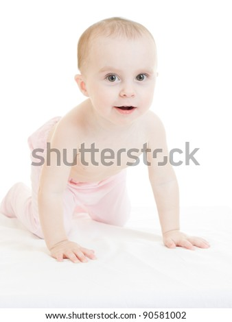Happy baby on a white background.