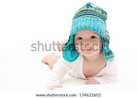 happy baby on stomach - stock photo