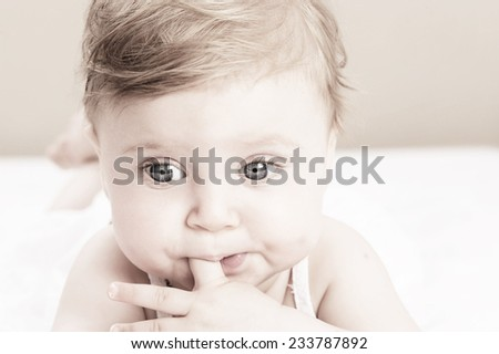 happy baby portrait - stock photo