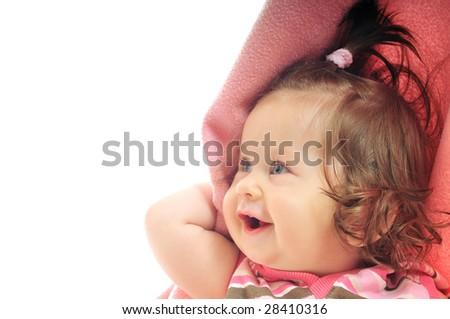 happy baby under blanket isolated on white - stock photo