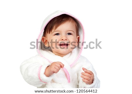 Happy baby with a bathrobe isolated on white background - stock photo