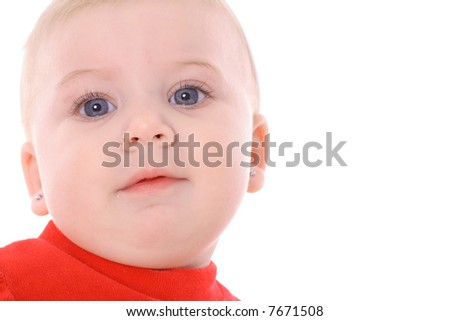 happy baby with blue eyes headshot - stock photo