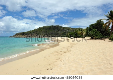 Happy bay, St Martin, Caribbean - stock photo