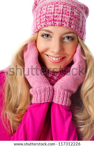 happy beautiful blonde woman wearing pink knitwear over white - stock photo