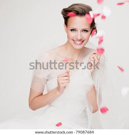 Happy beautiful bride - stock photo
