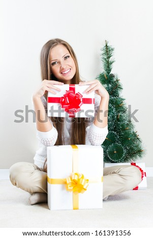 happy beautiful christmas woman with christmas gifts , christmas