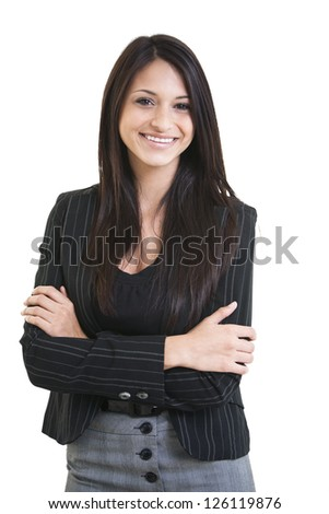 Happy beautiful hispanic business female with arms crossed smiling isolated on white background. - stock photo