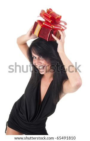 happy beautiful lady holding her gift - stock photo