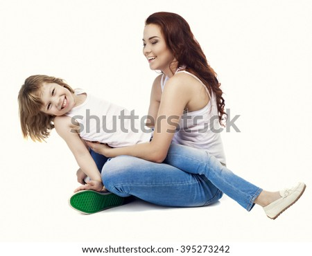 happy beautiful mother embracing her son, isolated against white background - stock photo