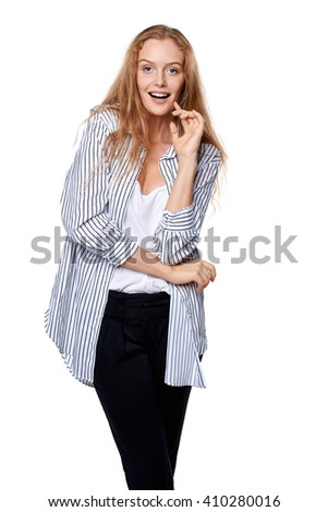 Happy beautiful woman in excitement, isolated over white background - stock photo