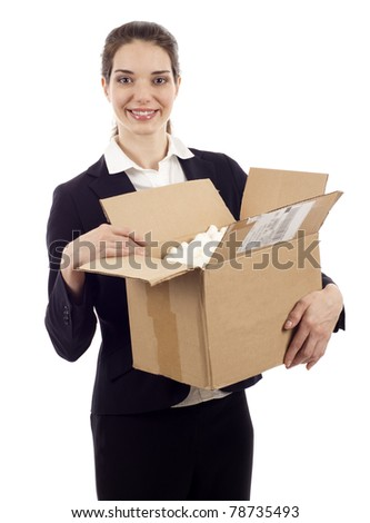 Happy beautiful woman receiving a postal package isolated over white background - stock photo