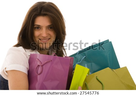 happy beautiful woman with her shopping bags (isolated on white)