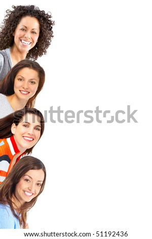 Happy beautiful women. Isolated over white background - stock photo