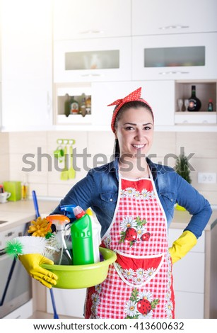 Portrait Positive Woman Janitor Showing Thumbs Stock Photo