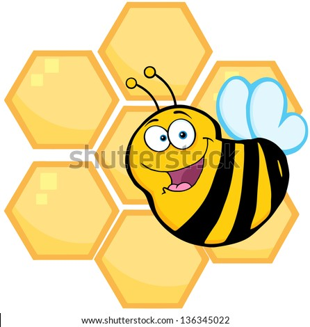 Happy Bee In Front Of A Orange Bee Hives. Raster Illustration.Vector Version Also Available In Portfolio.