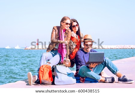 Happy Best Friends Traveling On Summer Holiday Are Waiting Ferry