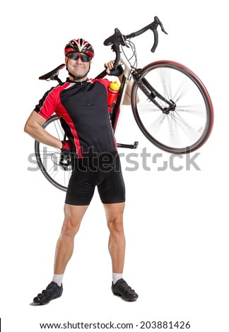 Happy bicyclist carry a bicycle isolated on white background. Biker carries his bike on a white background. Cyclist holding a bicycle on his shoulders. Bicyclist posing with the bike on shoulders. - stock photo