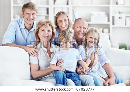 Happy big family at home - stock photo