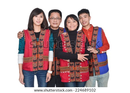 Happy big family having fun and smiling over white background. Mother, father and children - stock photo