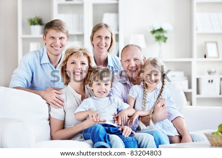 Happy big family home - stock photo