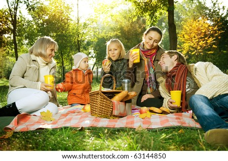 Happy Big Family in Autumn Park.Picnic. - stock photo
