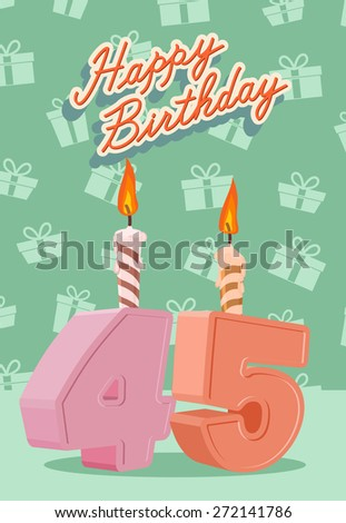 Happy Birthday.  Announcement and Celebration Message Poster, Flyer Flat Style Age 45 - stock photo