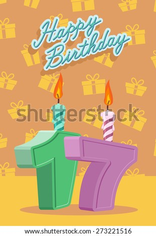 Happy Birthday. Announcement and Celebration Message Poster, Flyer Flat Style Age 17 - stock photo