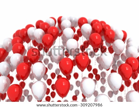 Happy birthday balloons red party decoration background  - stock photo